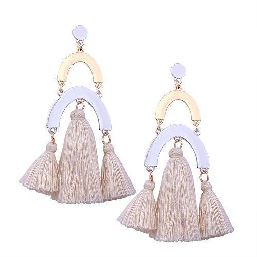 (Aibelly Bohemian Vintage Ethnic Metallic Feel Tassel Statement Dangle Chandelier Drop Earrings New Fashion Handmade Thread Geometric Stud Earrings for Woman)