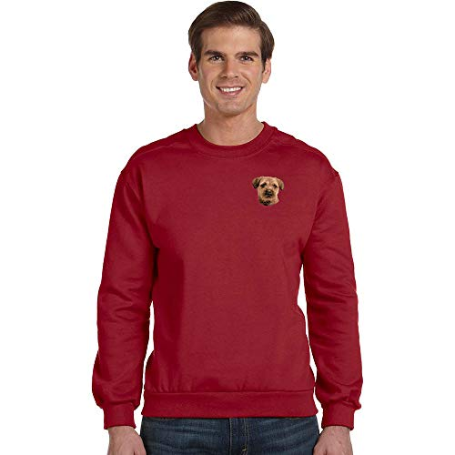 Cherrybrook Breed Embroidered Anvil Mens Crew Sweatshirt - Large - Independence Red - Border Terrier ()