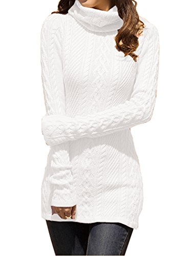 V28 Women Polo Neck Knit Stretchable Elasticity Long Sleeve Slim Sweater Jumper (US Size 12-16, White)