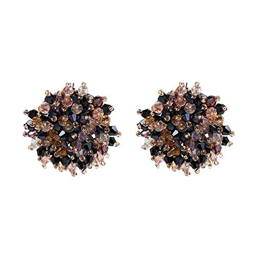 Personality Noble Faceted Glass Glass Crystal Pearl Beads Beaded Charm Big Button Stud Earrings for Women (JURAN-50272) ()
