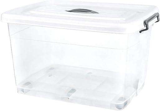 LYNN Caja de Almacenaje Multifuncional el Plastico Transparente con Tapa Sobre Ruedas Casa Alta Capacidad Caja de Almacenaje Juguete Ropa Edredón Caja de Almacenaje Seguridad Y Protección Del Medio: Amazon.es: Bricolaje y