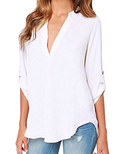 Face N Face Women's Summer V Neck Solid Loose Casual Cuffed Long Sleeve Blouses X-Large White