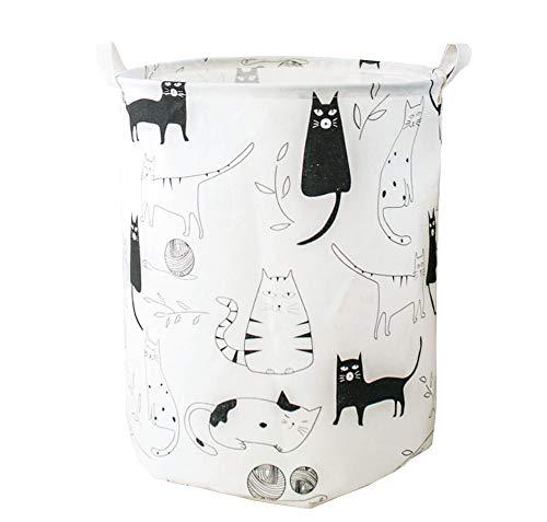 CASOFU Storage Bins, Nursery Canvas Laundry Basket Foldable Round Cotton Linen Storage Baskets for Kids Boys and Girls, Clothes, Toys, CAT (Laundry Hamper Cat)