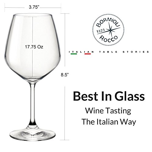 Bormioli Rocco 18oz Red Wine Glasses (Set Of 4): Crystal Clear Star Glass, Laser Cut Rim For Wine Tasting, Lead-Free Cups, Elegant Party Drinking Glassware, Dishwasher Safe, Restaurant Quality by Bormioli Rocco (Image #3)