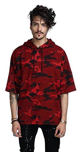 Pizoff Mens Womens Hipster Camouflage Half Sleeve Pullover Step Hem Hoodie Top C7041-XL