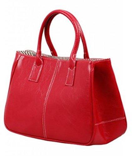 Higawin Damen Fashion Leder Volltonfarbe Handtasche multifunktion tasche Rot