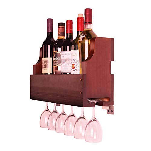 Old Oak Rustic Solid Wood Wall Mounted Wine Rack Wine Bottle and Wine Glass Holder Display Rack (Walnut)