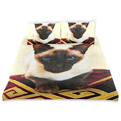 Vipsk Kids Duvet Cover Pillowcase Bedding Set Siamese Pattern 3 Piece Bed Set 100% Cotton with Zipper Closure Organic Modern Comforter Set Full/Queen