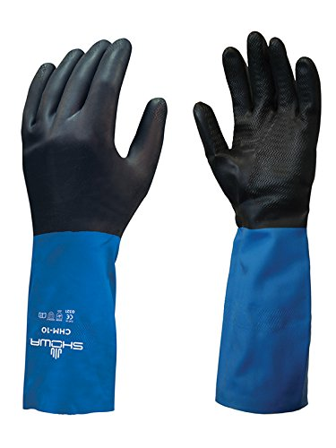 SHOWA CHML-09 Neoprene Over Natural Rubber Latex Glove with Cotton Flock Liner, Large (Pack of 12 Pairs)