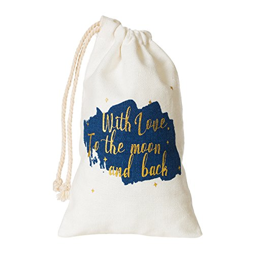 "Ling's moment 10pcs 4""x6"" Wedding Party Baby Shower Gift Favor Bag with Gold Foil ""With Love to the Moon and Back"" Design"