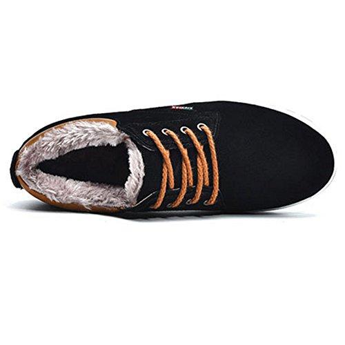 COOLCEPT Herren Winter Stiefel Warm Gef¨¹ttert Schn¨¹rung Schuhe Casual Stiefel Schwarz