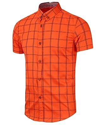 ANDYOU Men Casual Plaid Short Sleeve Button Down Thin T-Shirts