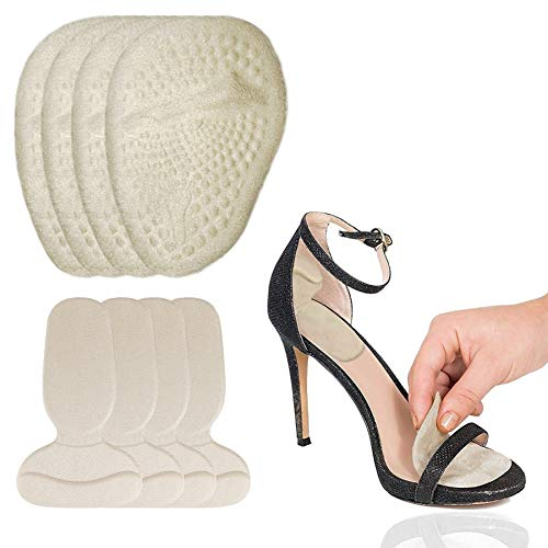 High Heel Pads,4 Pairs Anti Slip Shoe Insoles for Women,Metatarsal Pads and Heel Pad Pain Relief Pad Suit Suitable for High Heels/Flats/Running shoes,Prevent Grind Feet