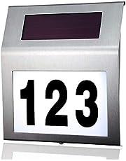 MOLVCE RVS huisnummer solar Verlicht 2 leds solar huisnummer met schemerschakelaar IP65 waterdicht buiten met cijfers 0-9 & letters A-H
