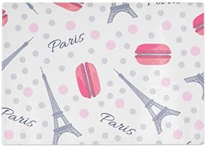 Macaroon With Eiffel Tower Paris Kitchen Bar Glass Cutting Board - 8 x 11 Inch