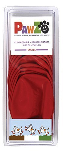 Dog Boots Disposable, Reusable, Waterproof Pawz Set of 12 Color:Red Size:Small by Pawz