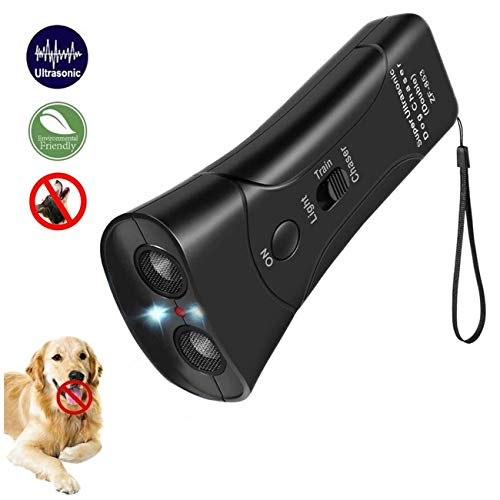 DOPQIEG Ultrasonic Dog Repeller, Electronic Anti Barking Stop Bark Handheld 3 in 1 Pet Dog Trainer with LED Flashlight, Dog Training Device for Your Safety – Dog Deterrent/Training Tool/Stop Barking