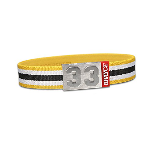 "fan products of BRAYCE Team Colors: Customize your jersey bracelet white/black/yellow with your player number (0-99) 7 sizes (6,3"" – 8,7""): Hockey, Baseball, Basketball & Football"