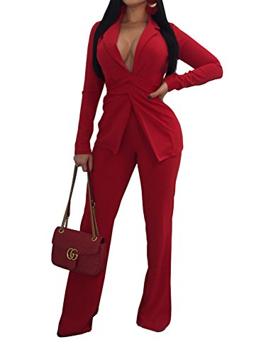 Jeanewpole1 Women Sexy 2 Piece Outfits Long Sleeve Slim Fit Blazer Jacket with Long Pants Suit Set Red -
