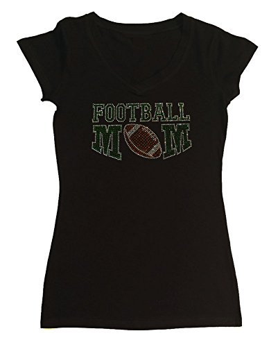 Womens Fashion T-shirt with Green Football Mom in Rhinestones (Small, Black Cap Sleeve)
