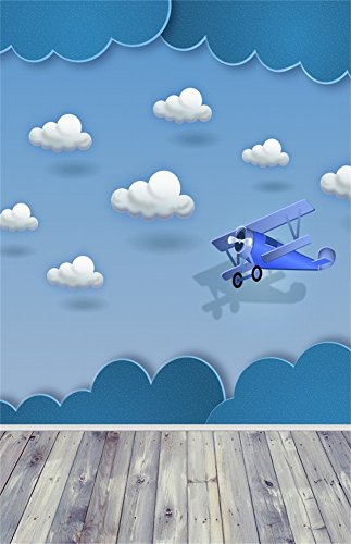 Leowefowa 3X5FT Vinyl Cartoon Backdrop Baby Shower Airplane Toy White Cloud Blue Sky Vintage Stripes Wood Floor Happy Birthday Photography Background Girls Boys Party Decoration Photo Studio Props