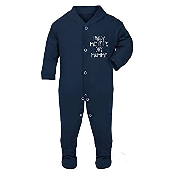 e67a685f2ba1 Happy Mother s Day Simple Text Statement Baby Sleepsuit  Amazon.co ...