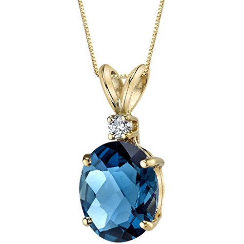(14 Karat Yellow Gold Oval Shape 3.00 Carats London Blue Topaz Diamond Pendant)