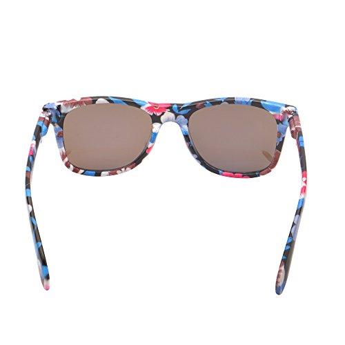 de Con Lente Floral Retro de Bisagras Templo Hombre Espejo Reflexivo Gafas Mujer Azul Sol Resorte de wqpxCBv
