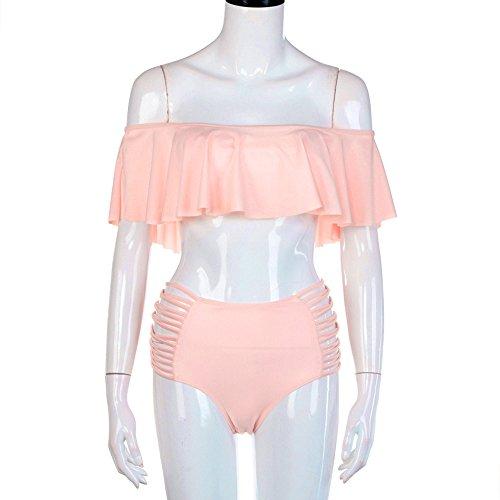 Covermason Mujer Push-up Acolchado Bra Vendaje Bikini Conjunto rosa