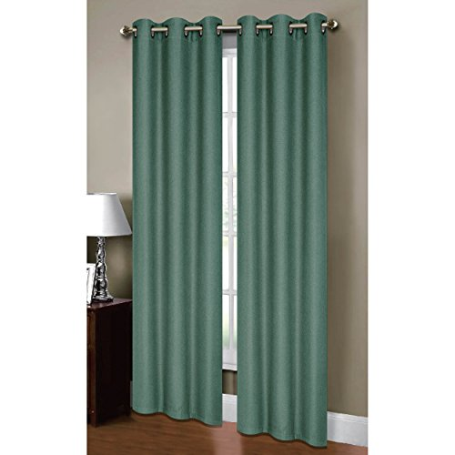 Linens Bed Bella (Bella Luna Henley Faux Linen Room Darkening 76 x 84 in. Grommet Curtain Panel Pair, Grey Teal)