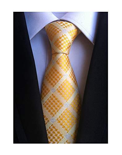 - Men Checks Golden Yellow Jacquard Woven Silk Tie Geometric Wedding Boys Necktie