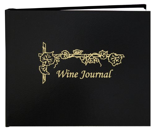 "BookFactory® Wine Journal / Wine Log Book / Wine Collector's Diary / Wine Notebook - Black Leather Cover - 72 Pages, Professional Grade, Smyth Sewn Hardbound, 8 7/8"" x 7"" (LOG-072-XLO-TWR-WINE-XKT43R)"