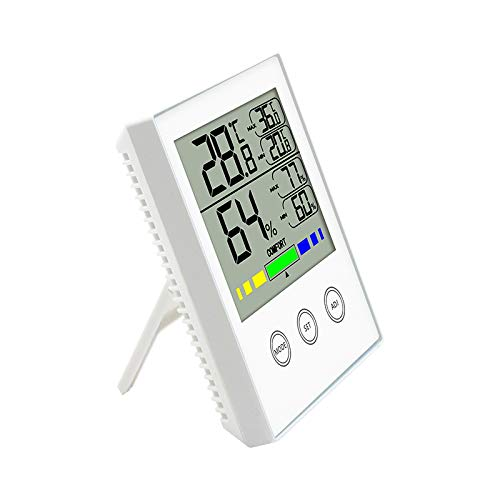 DATTON 910 Black Digital Hygrometer Indoor Temperature Humidity Gauge Thermometer Hygrometer Monitor with Touchscreen and Backlight