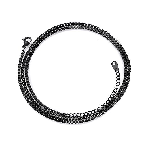 20''+2 inch adjustable Stainless Steel 1mm Box Chain Necklace Solid Italian Nickel-Free Men Women Jewelry (Black)