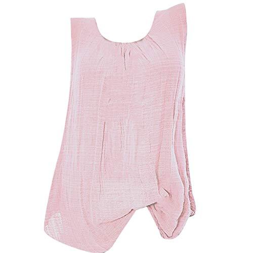 Pink Virtual Apparel - NRUTUP Tank for Women Cotton Linen Sleeveless Baggy T-Shirt Loose Vest Tee Blouse Tops Plus Size Hot(Pink,XXXXL)