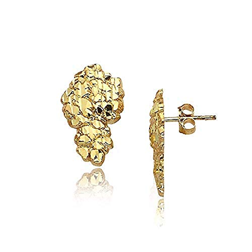 Pyramid Jewelers Mens 18K Yellow Gold Finish Large Nugget 925 Sterling Silver Stud Earrings (Medium Set) (Ring Nugget Gold Yellow)