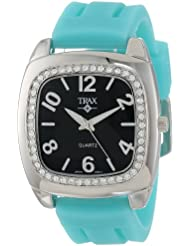 Trax Womens TR1740-BTQ Malibu Fun Turquoise Rubber Black Dial Crystal Watch