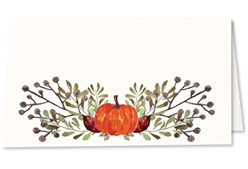 Koko Paper Co Thanksgiving Place Cards with Pumpkin and Fall Leaves. Pack of 50 Tent Style Cards for Thanksgiving, Bridal Showers, Dinner Parties, Birthdays, or Any Occasion. No Holder Necessary.