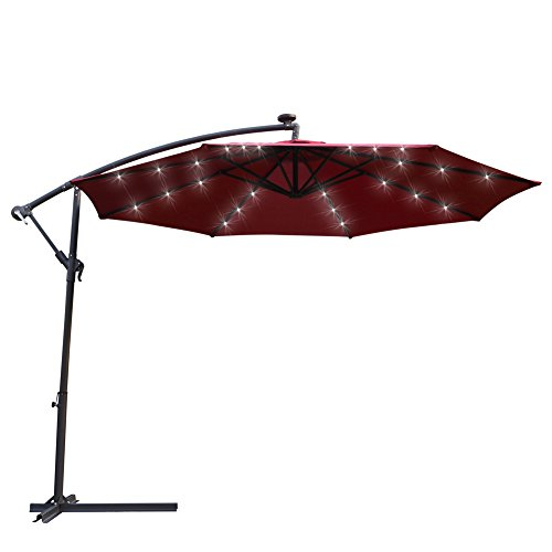 - ADA Kosycosy 10 ft LED Lighted Cantilever Umbrella LED Solar Power Patio Umbrella Offset Outdoor Market Hanging Umbrellas & Crank With Cross Base (Wine Red)