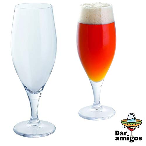 (Bar Amigos Everyday Classic Essentials Stemmed Beer Drinking Glasses | Ideal For Lagers & Specialty Beers | Lead Free Crystal | Dishwasher Safe | 650Ml - Pack Of 2 (Pair))