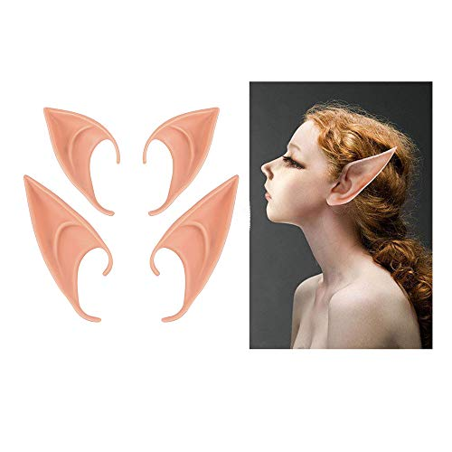 XinS 2 Pairs Elf Ears Soft Pointed Prosthetic Ears for Cosplay Costumes Halloween Party Accessories -