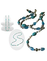 """Pearl and Stone Extra Long 44"""" Necklace Boxed (#168)"""