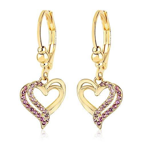 Cute Little Girl's Leverback Earrings – Pink Crystal Heart Charm Fashion Jewelry (Leverback Childrens Earrings Heart)