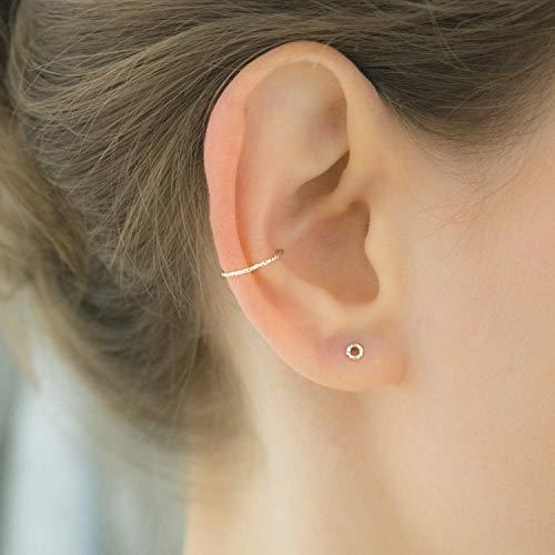 Diamond Cut Ear Cuff Silver Non Pierced Earring Clip On Cartilage Hoop Ring