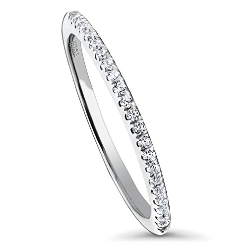 BERRICLE Rhodium Plated Sterling Silver Cubic Zirconia CZ Wedding Half Eternity Band Ring Size 7 (Pave Style Band)