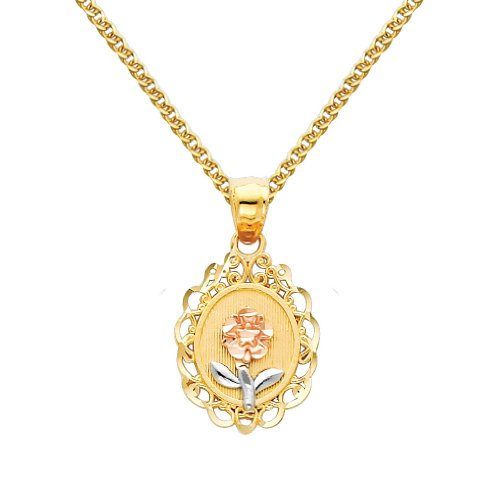 Wellingsale 14k Tri 3 Color Gold Polished Flower Charm Pendant with 1.5mm Flat Open wheat Chain Necklace - 22