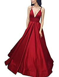 Spaghetti Strap Prom Dress Long V-Neck Backless A-Line Formal Evening Gown 2018