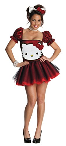 Hello Kitty Costume For Adults Plus Size (Hello Kitty Red Glitter Dress Costume - Large - Dress Size 12-14)