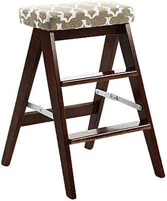 Taburete Escalera Escalera Escalera Plegable Multifunción Creativo Portátil Abedul Tres Pasos Cocina En Casa (Color : Brown, Size : 21 * 40 * 63cm): Amazon.es: Hogar