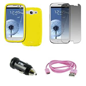 EMPIRE Samsung Galaxy S III / S3 Poly Skin Case Cover (Yellow) + USB 2.0 Data Cable (Pink) + USB Car Charger Adapter + Screen Protector [EMPIRE Packaging]